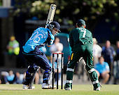 CB40 Saltires V Nottinghamshire Outlaws, at Grange CC, Edinburgh - 17 year old Saltires debutant Freddie Coleman can only watch as Notts keeper Chris Read collects a top edge to accord Coleman a duck - Picture by Donald MacLeod 23.05.10 - mobile 07702 319 738
