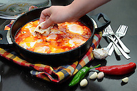 Fresh delicious breakfast served - eggs shakshuka<br />