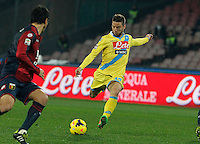 Dries Mertens    in action during the Italian Serie A soccer match between SSC Napoli and Genoa CFC   at San Paolo stadium in Naples, Feburary 24 , 2014