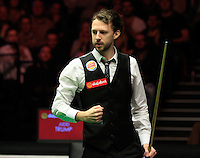 Judd Trump clenches his fist knowing he has secured the win during the Dafabet Masters Quarter Final 2 match between Judd Trump and Neil Robertson at Alexandra Palace, London, England on 15 January 2016. Photo by Liam Smith / PRiME Media Images.