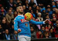 Napoli's Elseid Hysaj during the  italian serie a soccer match,between SSC Napoli and Empoli      at  the San  Paolo   stadium in Naples  Italy , January 31, 2016