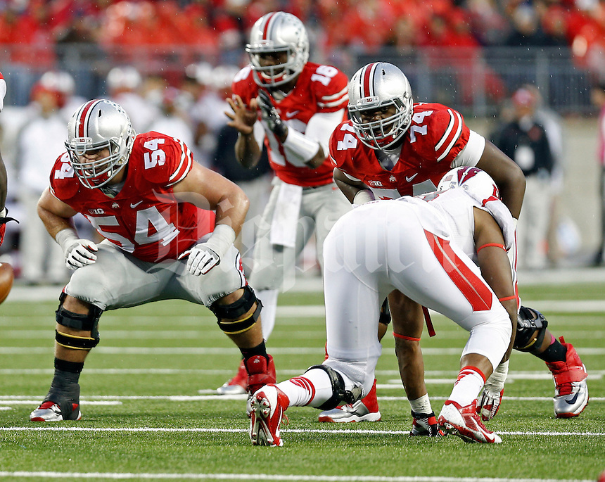 Ohio State Buckeyes offensive lineman Billy Price (54) and Ohio State Buckeyes offensive lineman Jamarco Jones (74) against Rutgers Scarlet Knights during the 4th quarter of their game at Ohio Stadium on October 18, 2014.  (Dispatch photo by Kyle Robertson)