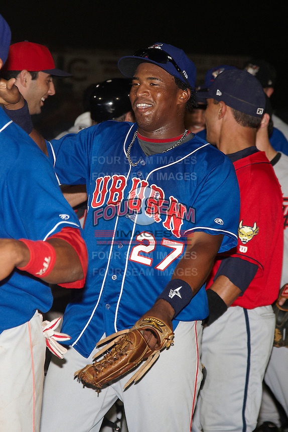 Auburn Doubledays outfielder Estarlin Martinez #27 after the NY-Penn League All-Star Game at Eastwood Field on August 14, 2012 in Niles, Ohio.  National League defeated the American League 8-1.  (Mike Janes/Four Seam Images)