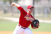St. Louis Cardinals minor league pitcher Eric Fornatero #47 delivers a pitch during a spring training game vs the New York Mets at the Roger Dean Sports Complex in Jupiter, Florida;  March 24, 2011.  Photo By Mike Janes/Four Seam Images