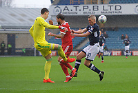 Steve Morison of Millwall puts Costel Pantilimon goalkeeper of Nottingham Forest under pressure during the Sky Bet Championship match between Millwall and Nottingham Forest at The Den, London, England on 30 March 2018. Photo by Alan  Stanford / PRiME Media Images.