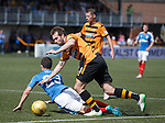 Jason Holt flattened in the box by Graeme Holmes for a penalty kick