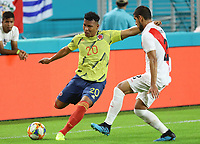 MIAMI GARDENS - ESTADOS UNIDOS, 15-11-2019: Colombia y Perú en partido amistoso jugado en el Hard Rock Stadium en Miami Gardens, Estados Unidos. / Colombia and Peru in a friendly match between Colombia and Peru played at Hard Rock Stadium in Miami Gardens, Estados Unidos. Photo: VizzorImage / FCF / Cont