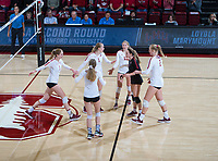 STANFORD, CA - December 1, 2018: Holly Campbell, Jenna Gray, Kate Formico, Morgan Hentz, Kathryn Plummer, Meghan McClure at Maples Pavilion. The Stanford Cardinal defeated Loyola Marymount 25-20, 25-15, 25-17 in the second round of the NCAA tournament.
