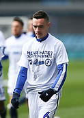 17th March 2019, The Den, London, England; The Emirates FA Cup, quarter final, Millwall versus Brighton and Hove Albion; Shaun Williams of Millwall along with other Millwall players wearing Hear Hate? Don't Hesitate T-Shirt in response to the recent racist and homophobic allegations against Millwall inside The Den before kick off