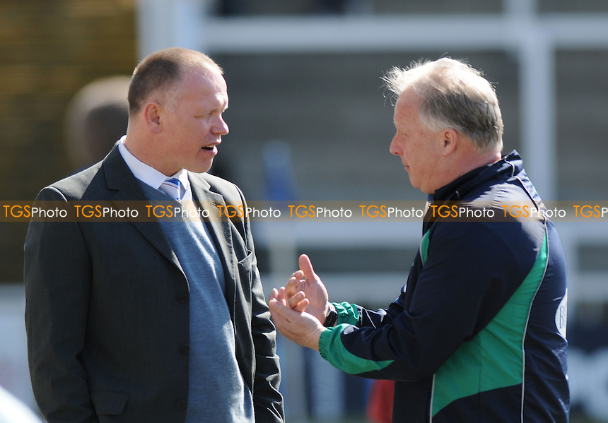 Hartlepool United Manager John Hughes  chats to Bury Manager Kevin Blackwell  before kick off - Hartlepool United vs Bury- NPower League One Football at Victoria Park, Hartlepool - 06/04/13 - MANDATORY CREDIT: Steven White/TGSPHOTO - Self billing applies where appropriate - 0845 094 6026 - contact@tgsphoto.co.uk - NO UNPAID USE.