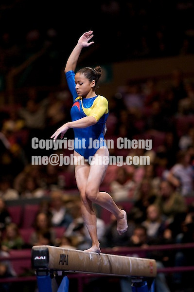 3/1/08 - Photo by John Cheng -  Jessica Lopez of Venezuela performs on the balance beam at the Tyson American Cup in Madison Square GardenPhoto by John Cheng - Tyson American Cup 2008 in Madison Square Garden, New York.Lopez