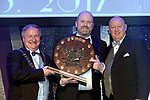 Brian Kelly Wexford Light Opera Musical Society winner of the Best Visual /Gilbert Section for their production of &quot;9 to 5' receiving the trophy from on left, Colm Moules, President, AIMS and Seamus Power, Vice-President at the Association of Irish Musical Societies annual awards in the INEC, KIllarney at the weekend.<br /> Photo: Don MacMonagle -macmonagle.com<br /> <br /> <br /> <br /> repro free photo from AIMS<br /> Further Information:<br /> Kate Furlong AIMS PRO kate.furlong84@gmail.com