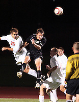 Ian Daniel (Oakland University) heads the ball in front of Eric Brunner (Ohio State Universtiy)during their Soccer match at The Ohio State Univerisy, October 10th, 2007.
