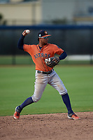 Houston Astros shortstop Miguelangel Sierra (55) throws to first during a Minor League Spring Training Intrasquad game on March 28, 2019 at the FITTEAM Ballpark of the Palm Beaches in West Palm Beach, Florida.  (Mike Janes/Four Seam Images)