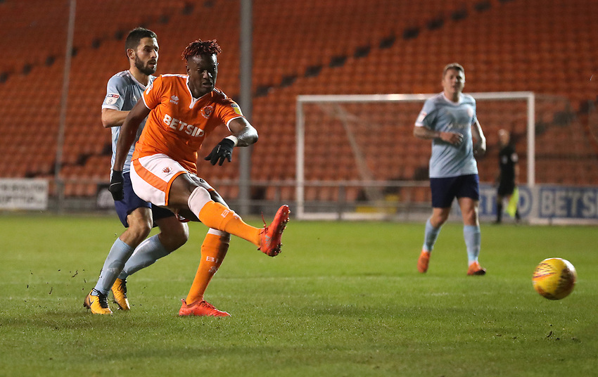Blackpool's Armand Gnanduillet sores his sides third goal<br /> <br /> Photographer Rachel Holborn/CameraSport<br /> <br /> The EFL Checkatrade Trophy Group C - Blackpool v Accrington Stanley - Tuesday 13th November 2018 - Bloomfield Road - Blackpool<br />  <br /> World Copyright © 2018 CameraSport. All rights reserved. 43 Linden Ave. Countesthorpe. Leicester. England. LE8 5PG - Tel: +44 (0) 116 277 4147 - admin@camerasport.com - www.camerasport.com