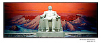 "NR00781 / Kim Il Sung the 'Great Leader' sitting in front of the Mont Baiktou. This statue can be seen as soon as you enter the ""People's study Palace"".  ..Although he deceased in 1994, he remains the President for Life of North Korea. This year North Koreans will celebrate the 10th anniversary of his death...Statue de Kim Il Sung, derriere le Mont Baiktou ou son fils Kim Jong Il est ne. Bien que Kim Il Sung soit décédé en 1994, il demeure le Président à Vie de la Corée du Nord. Cette annee, les Nord-Coreens celebrerons le 10eme anniversaire de sa mort...Pyongyang, Coree du Nord, Avril 2001...©Nicolas Righetti/Rezo"