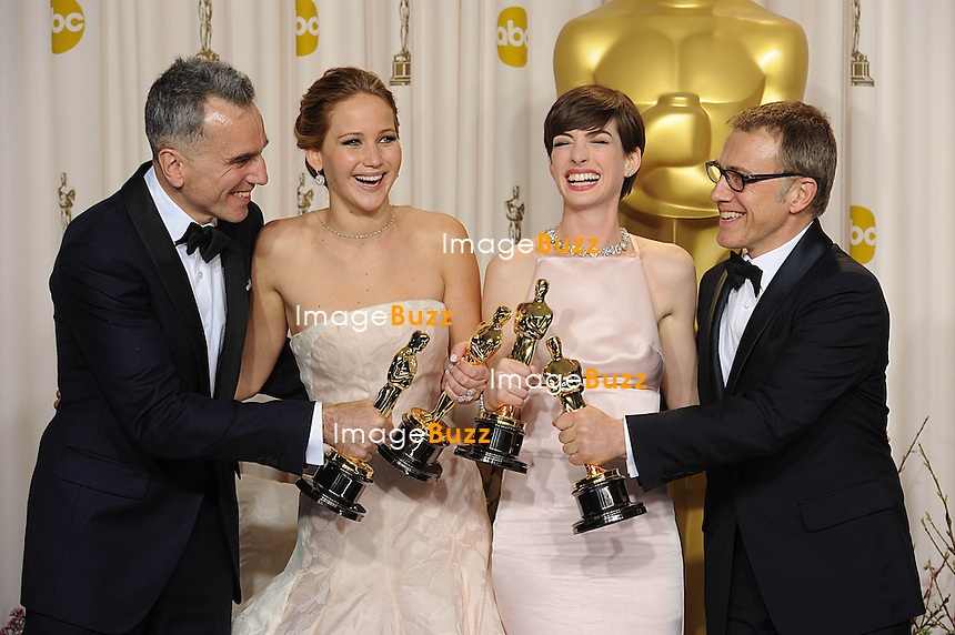 Daniel Day-Lewis , Jennifer Lawrence, Anne Hathaway  and Christoph Waltz at the 85th Academy Awards at the Dolby Theatre, Los Angeles.