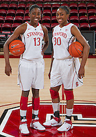 STANFORD, CA - February 26, 2011: Sisters Chiney and Nnemkadi Ogwumike before Stanford's 99-60 victory over Oregon at Stanford, California on February 26, 2011.