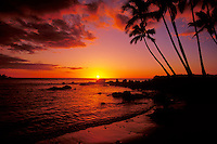 Sunset at Mahai'ula beach on the Kona Coast of the Big Island of Hawaii, USA.