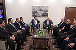 Palestinian President Mahmoud Abbas meets with Jordanian Minister of State for Political Affairs Sami Al-Dawood in the West Bank city of Bethlehem, on December 24, 2019. Photo by Thaer Ganaim