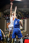SIOUX FALLS, SD - MARCH 8:  Robbie Brooks #24 from Governors State looks for the short jumper over Trae Vandeberg #3 from Dakota Wesleyan at the 2018 NAIA DII Men's Basketball Championship at the Sanford Pentagon in Sioux Falls. (Photo by Dave Eggen/Inertia)