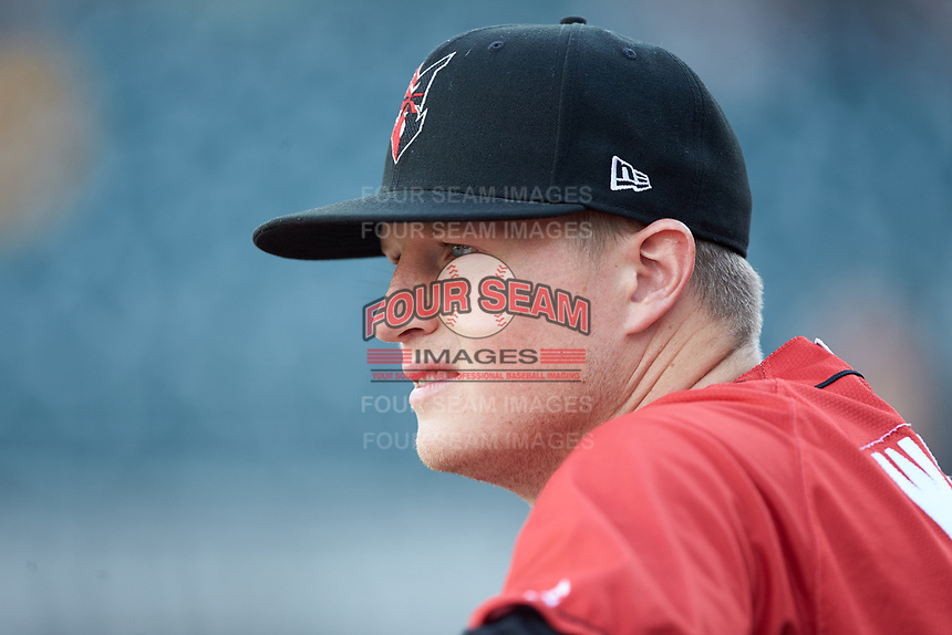 Erich Weiss (6) of the Indianapolis Indians prior to the game against the Charlotte Knights at BB&T BallPark on May 26, 2018 in Charlotte, North Carolina. The Indians defeated the Knights 6-2.  (Brian Westerholt/Four Seam Images)