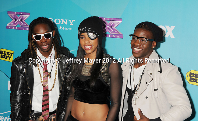 LOS ANGELES, CA - NOVEMBER 05: Julien Joseph, Lyric Da Queen and Jemelle Joseph of Lyric 145 arrive at FOX's 'The X Factor' finalists party at The Bazaar at the SLS Hotel Beverly Hills on November 5, 2012 in Los Angeles, California.