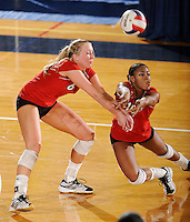 20 November 2008:  Arkansas State outside hitter Kristen Catalane (6) and outside hitter Mandy DeWalt (10) attempt to return the ball during the Middle Tennessee 3-0 victory over Arkansas State in the first round of the Sun Belt Conference Championship tournament at FIU Stadium in Miami, Florida.