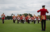 The Band before the Cartier Queens Cup Final match between King Power Foxes and Dubai Polo Team at the Guards Polo Club, Smith's Lawn, Windsor, England on 14 June 2015. Photo by Andy Rowland.