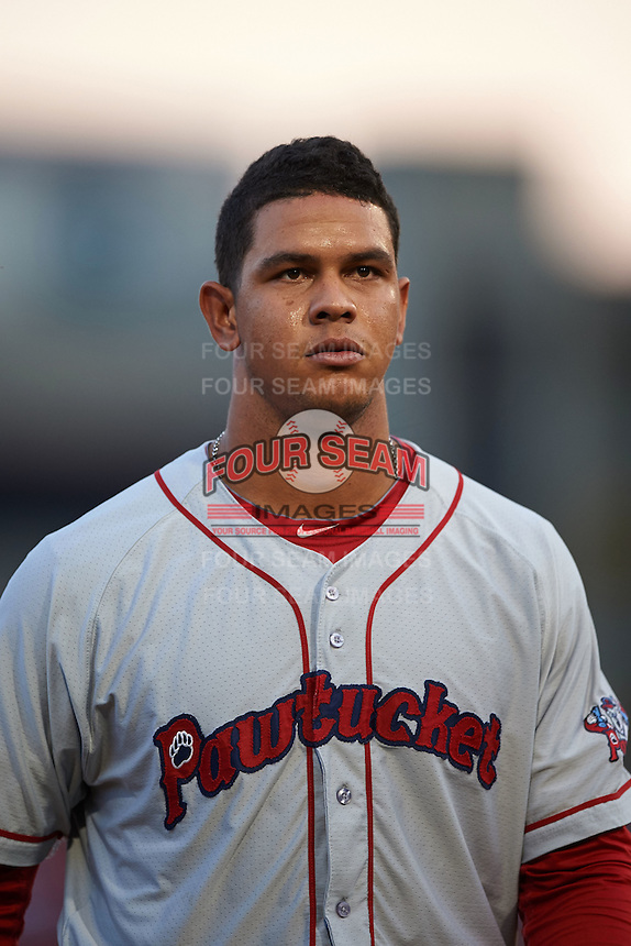 Pawtucket Red Sox second baseman Marco Hernandez (23) during a game against the Buffalo Bisons on August 28, 2015 at Coca-Cola Field in Buffalo, New York.  Pawtucket defeated Buffalo 7-6.  (Mike Janes/Four Seam Images)