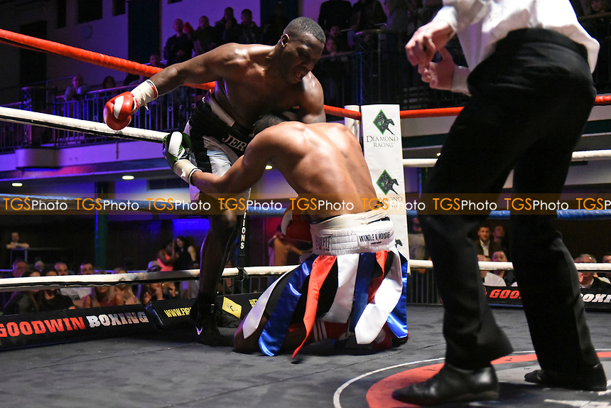 Ossie Jervier (white shorts) defeats Jose Lopes during a Boxing Show at York Hall on 11th March 2017