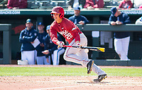 Rhode Island vs Arkansas Razorbacks Men's Baseball – Dominic Fletcher of Arkansas try to bunt to get on against Rhode Island at  Baum Stadium, Fayetteville, AR, Sunday, March 12, 2017.  © 2017 David Beach