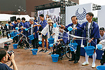 Tokyo governor Yuriko Koike (C) alongside organizers and Paralympians sprinkle water (Uchimizu) during the 3 Years to Go! ceremony for the Tokyo 2020 Paralympic games at Urban Dock LaLaport Toyosu on August 25, 2017. The Games are set to start on August 25th 2020. (Photo by Rodrigo Reyes Marin/AFLO)