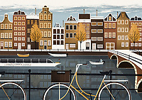Illustration of traditional street by canal in Amsterdam