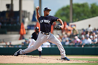 New York Yankees relief pitcher Albert Abreu (87) delivers a pitch during a Grapefruit League Spring Training game against the Detroit Tigers on February 27, 2019 at Publix Field at Joker Marchant Stadium in Lakeland, Florida.  Yankees defeated the Tigers 10-4 as the game was called after the sixth inning due to rain.  (Mike Janes/Four Seam Images)