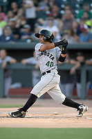 Second baseman Anyesber Sivira (40) of the Augusta GreenJackets bats in a game against the Columbia Fireflies on Friday, May 31, 2019, at Segra Park in Columbia, South Carolina. Augusta won, 8-6. (Tom Priddy/Four Seam Images)