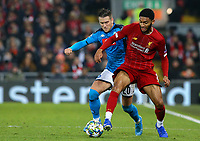 Liverpool's Joe Gomez shields the ball from Napoli's Piotr Zielinski<br /> <br /> Photographer Alex Dodd/CameraSport<br /> <br /> UEFA Champions League Group E - Liverpool v Napoli - Wednesday 27th November 2019 - Anfield - Liverpool<br />  <br /> World Copyright © 2018 CameraSport. All rights reserved. 43 Linden Ave. Countesthorpe. Leicester. England. LE8 5PG - Tel: +44 (0) 116 277 4147 - admin@camerasport.com - www.camerasport.com