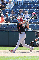 Sean Hurley (15) of the Vancouver Canadians bats during a game against the Everett AquaSox at Everett Memorial Stadium on July 28, 2015 in Everett, Washington. Everett defeated Vancouver, 8-5. (Larry Goren/Four Seam Images)