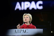 Washington, DC - March 21, 2016: 2016 Democratic presidential candidate Hillary Clinton speaks before an estimated 18,000 attendees of the AIPAC Policy Conference at the Verizon Center in the District of Columbia, March 21, 2016. AIPAC is engaged in promoting and protecting the U.S.-Israel relationship to enhance security for both countries. (Photo by Don Baxter/Media Images International)