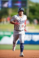 Oswaldo Arcia (31) of the Reno Aces rounds the bases after hitting a home run against the Salt Lake Bees in Pacific Coast League action at Smith's Ballpark on June 15, 2017 in Salt Lake City, Utah. The Aces defeated the Bees 13-5. (Stephen Smith/Four Seam Images)
