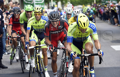 11.07.2014. Eperney to nancy, France. Tour de France cycling tour.  SAGAN Peter SVK of Cannondale - VANMARCKE Sep BEL of Belkin-Pro Cycling Team - CONTADOR Alberto ESP of Tinkoff-Saxo - VAN DEN BROECK Jurgen BEL of Lotto Belisol - NIBALI Vincenzo ITA of Astana Pro Team - VAN AVERMAET Greg BEL of BMC Racing Team