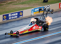 Jul 22, 2017; Morrison, CO, USA; NHRA top fuel driver Doug Kalitta during qualifying for the Mile High Nationals at Bandimere Speedway. Mandatory Credit: Mark J. Rebilas-USA TODAY Sports