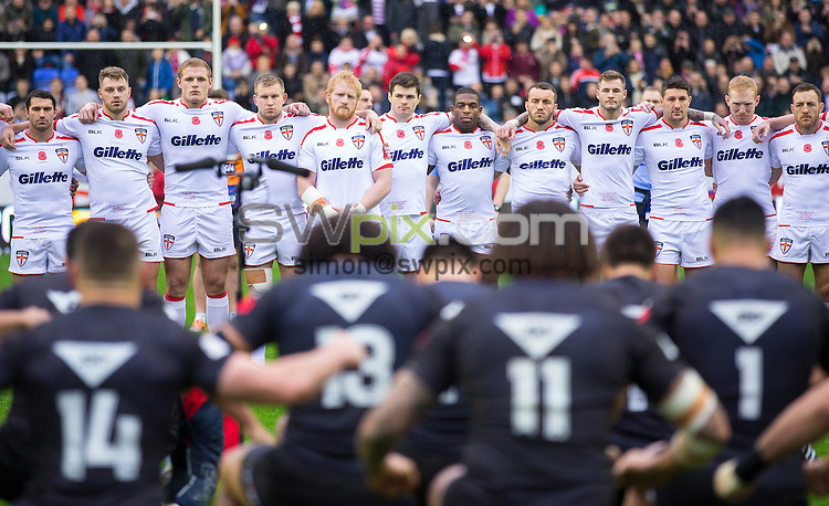 Picture by Alex Whitehead/SWpix.com - 14/11/2015 - Rugby League - England v New Zealand, Third Test - DW Stadium, Wigan, England - England face up to the New Zealand Haka.The Brief