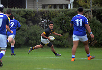 Action from the Wellington premiership rugby traditional match between St Patrick's College (Town) and Wellington College at Evan's Bay Park in Wellington, New Zealand on Tuesday, 28 May 2019. Photo: Dave Lintott / lintottphoto.co.nz
