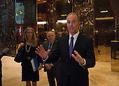 Dennis A. Muilenburg, president and chief executive officer of The Boeing Company, speaks to the media Trump Tower on January 17, 2017 in New York City. U.S. President Elect Donald Trump is still holding meetings upstairs at Trump Tower just 3 days before the inauguration.    <br /> Credit: Bryan R. Smith / Pool via CNP