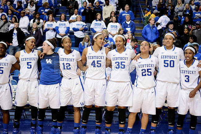 "Kentucky Women's Basketball players line up to sing ""My Old Kentucky Home"" during the second half against the Baylor Bears at Rupp Arena in Lexington, Ky., on Monday, November 17, 2014.  Kentucky wins 74-64. Photo by Caleb Gregg 