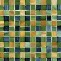 Bonnie, a jewel glass mosaic field shown in Marcasite, Aventurine and Tiger's Eye, is part of the Plaids and Ginghams Collection by New Ravenna Mosaics.