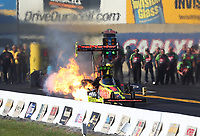 Sep 23, 2017; Mohnton, PA, USA; NHRA top fuel driver Richie Crampton has an engine fire during qualifying for the Dodge Nationals at Maple Grove Raceway. Mandatory Credit: Mark J. Rebilas-USA TODAY Sports