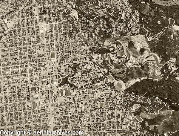 historical aerial photograph Berkeley, California, 1968
