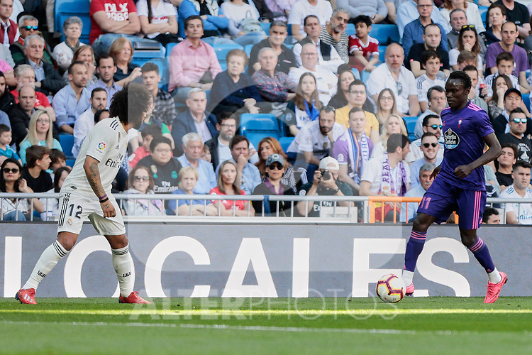 Real Madrid's Marcelo Vieira and Real Club Celta de Vigo's Pione Sisto during La Liga match between Real Madrid and Real Club Celta de Vigo at Santiago Bernabeu Stadium in Madrid, Spain. March 16, 2019. (ALTERPHOTOS/A. Perez Meca)